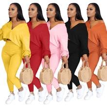AYES Plus Size Women Sets Clothes Autumn Two Piece Women Set Zipper V Neck Short Top Long Pencil Pants Set Solid Outfits L-4xl
