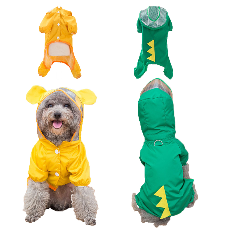 Cute Pet Dog Raincoat Hooded Waterproof Clothing For Small Medium Dogs Outdoor Puppy Yellow Breathable Raincoats Pet Supplies