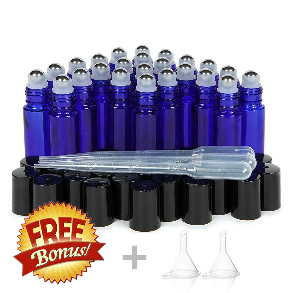 24pcs 10ml Glass Roller Bottles Empty Cobalt Blue with Stainless Steel Metal Roll On Ball for Essential oil Aromatherapy Perfumeroller bottlesglass roller bottle10ml glass roller bottle -