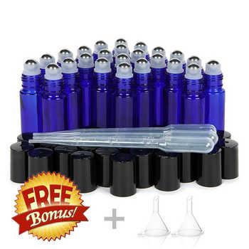24pcs 10ml Rullo di Vetro Bottiglie Vuote di Blu Cobalto con Metallo In Acciaio Inox Rullo Sulla Sfera per Gli Oli Essenziali lip Gloss Profumo