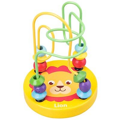 Деревянные игрушки Монтессори, деревянные круги, бусина, проволока, лабиринт, американские горки, Обучающие деревянные пазлы для мальчиков и девочек, детские игрушки 6+ месяцев - Цвет: lion