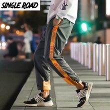 SingleRoad pantalones de Harem para hombre Hip Hop ropa informal japonesa pantalones Cargo para hombre Pantalones de rayas laterales pantalones de chándal para hombre