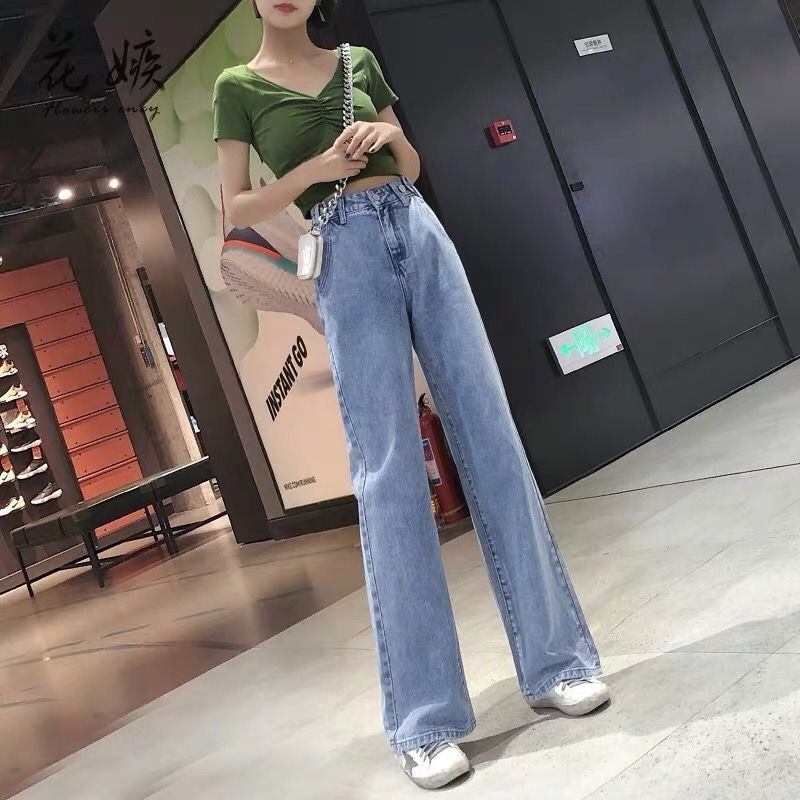 2020 New High Waist Jeans For Women Denim Wide Leg Mom Jeans Blue Loose Trousers Autumn Fashion Boyfriend Pant Jeans Mujer