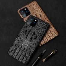 Caso do telefone de couro genuíno para o iphone 12 mini 11 pro max x xr xs 6s 7 8 plus textura crocodilo à prova de choque capa proteção dura