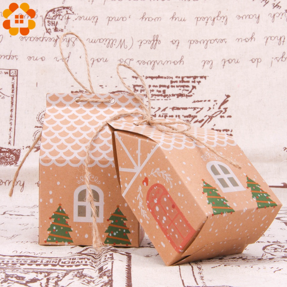 1set House Shape Christmas Candy Gift Bags With Ropes Xmas Tree Cookie Bags Merry Christmas Guests Packaging Boxes Party Decor 3