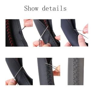 Image 4 - 車のステアリングホイールスイート編組カバー針と糸人工皮革カバーテクスチャソフトオートアクセサリーステアリングハンドル