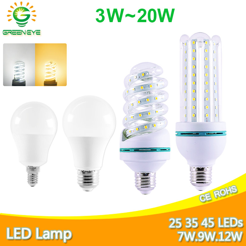Led Lamp Led Bulb E27 E14 Real 20W 16W 12W 9W 7W 5W 3W Led Light AC 220V 2835SMD Lampara LED Corn Lamp Aluminum Table Lamp Light