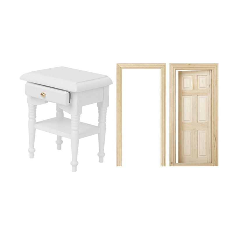 2 Pcs games Accessories:1 Pcs 1/12 Doll <font><b>Bed</b></font> Cabinet Models Furniture & 1 Pcs 1/12 Dollhouse 6 Panel Interior Wooden Door image