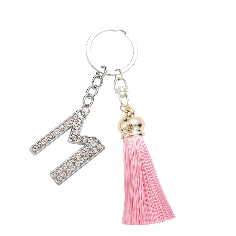 TEH Colorful Tassel Keychains For Women Crystal Letters Key Rings Key Holder Trendy Jewelry Bag Accessories Gift Pink Blue Black
