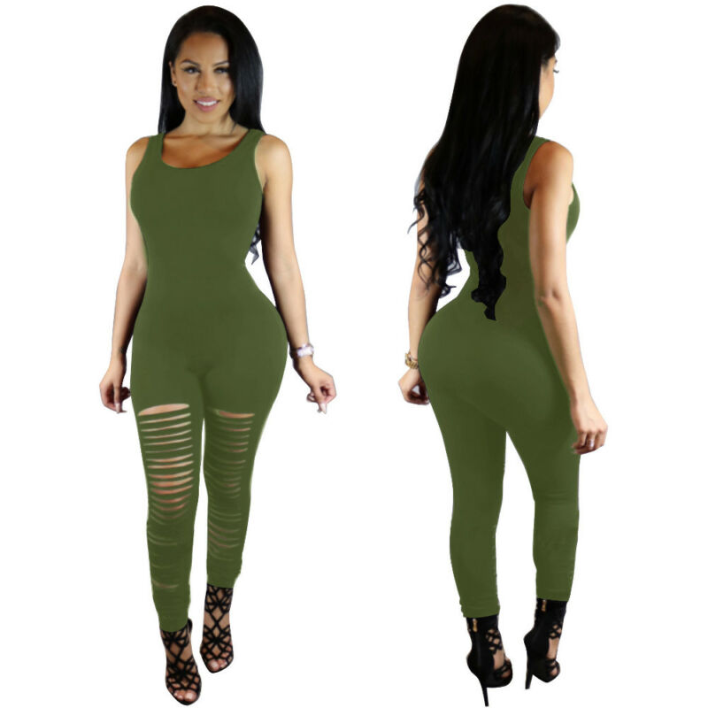 Women Jumpsuit Ripped Hole Hollow Sleeveless Rompers Slim Sport Gym Running Jogging Playsuit Solid Color Skinny Long Jumpsuit