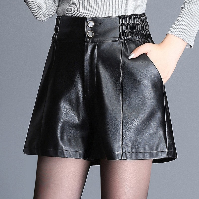 Large Size Leather Shorts Women Streetwear High Waist Black Wide Leg Shorts Lady Sexy PU Faux Leather Short 2020 Spring Fashion