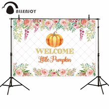 Allenjoy Welcome Little Pumpkin Backdrop Thanksgiving Day Flowers Harlenquin Tufted Party Banner Halloween Photobooth Background