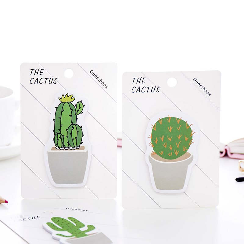 4pcs Cactus Love Sticky Memos Cute Potting Plant Adhesive Post Note Pad Record Marker It Stationery Office School Supplies A6669