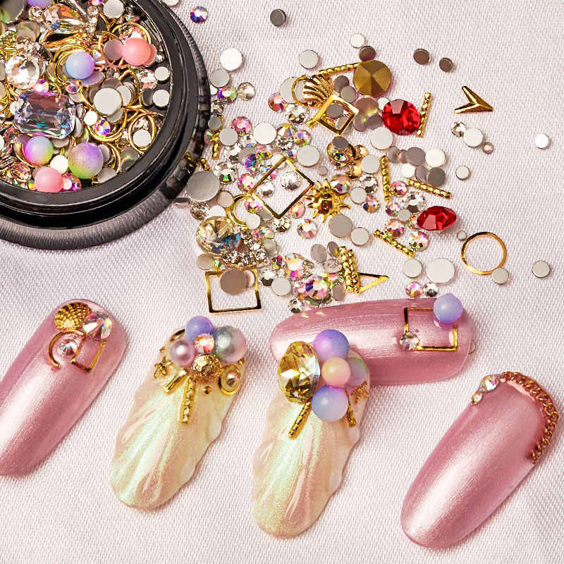 MEET ACROSS 3D Nail Art Rhinestone Stones Mixed Colorful DIY Design Decals with Nail Curved Tweezer Crystals Nail Art Decoration