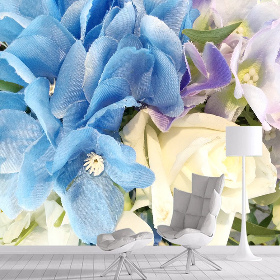 Fabric Blue Rose 3d Wallpaper Mural Wallpapers For Living Room Wall Paper Papers Home Decor Self Adhesive Walls Murals Rolls Art