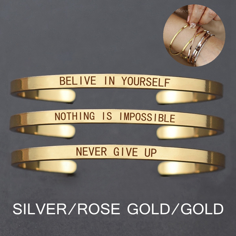 Inspirational bangles in Gold Rose Gold and Silver colors  Believe in yourself Never give up