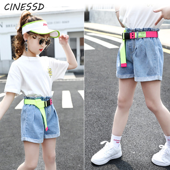New Fashion Girls High Waist Denim Shorts with Belt Baby Girls Jeans Shorts Summer Cute Kids Clothes for Teenagers 13-4 Years eaboutique 2018 new street fashion rock star kids summer big holes jeans for girls jeans 2 6 years old