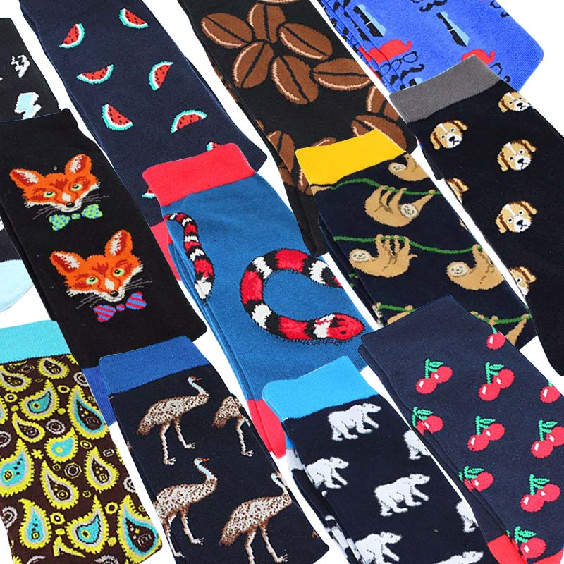 Creative High Quality Harajuku Cartoon Fruits Happy Socks Koala Flamingo Men's Socks Hip Hop Cool Funny Skate Socks For Men