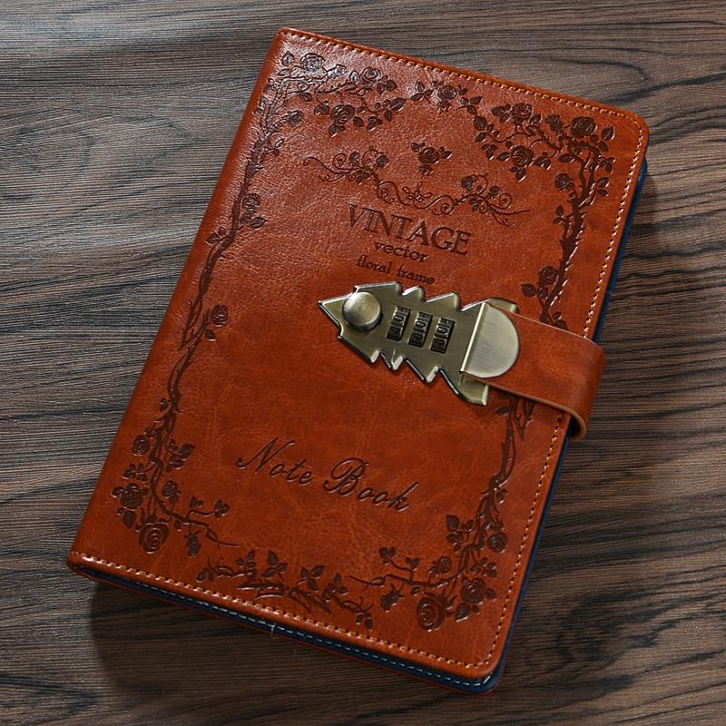 Livros e livros de notas escolares, livros de notas planejadores de couro pu a5 retrô livros e jornal diário com agenda de bloqueio de senha
