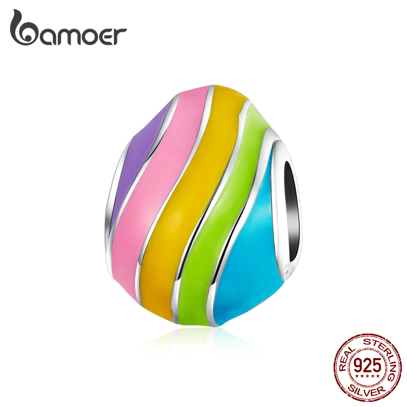 Bamoer Easter Series Genuine 925 Sterling Silver Rainbow Color Enamel Egg Charm Fot Original Bracelet Girl Festival Gifts BSC223