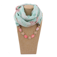 women fashion jewelry shawls pendant scarfs butterfly printed ring shawl capes necklace scarf for ladies