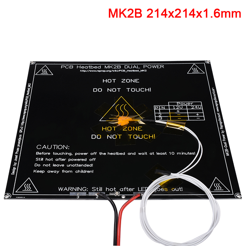 3D Printer Parts MK2B Heatbed 12 24V Without With Thermistors NTC100K Cable LED Resistor 214x214x1 6MM Heated Bed For Stiker