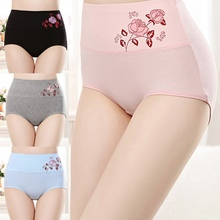 2019 New Print High Waist Panties Women Postpartum Cotton Briefs