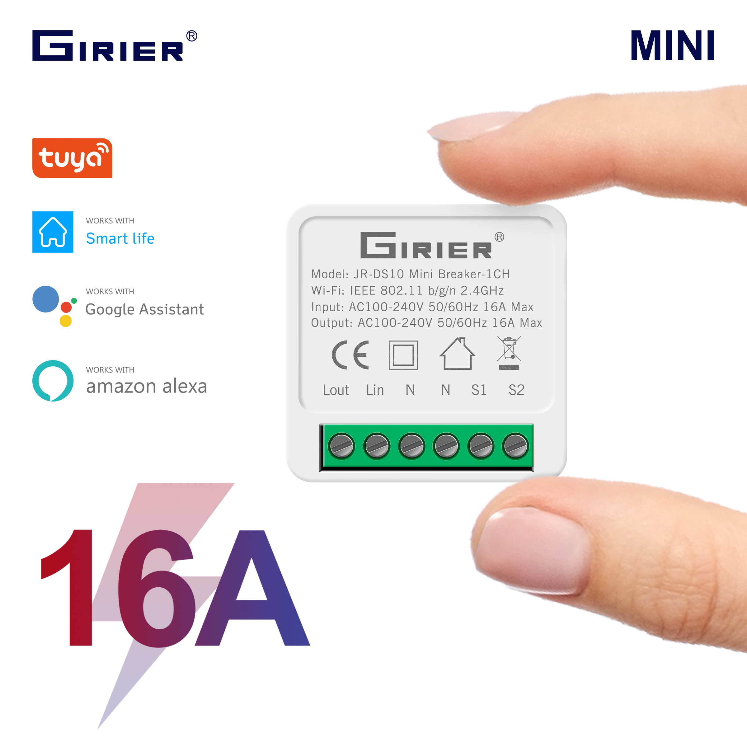 16A Mini Smart Wifi DIY Switch Supports 2 Way Control, Smart Home Automation Module, Works with Alexa Google Home Smart Life App