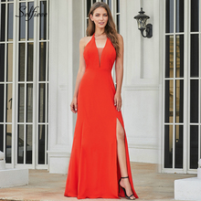New Fashion Women Dress A-Line V-Neck Sleeveless Side Split Maxi Sexy Orange Long Party Vestidos De Festa 2019