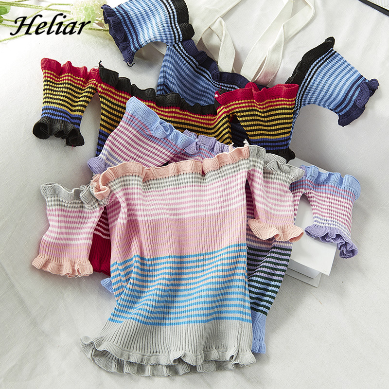 HELIAR 2020 Spring Women Strips Tops Female Blouse New Women's Clothing Slash Neck Tops Lady Sexy Tops Women Blouse For Women