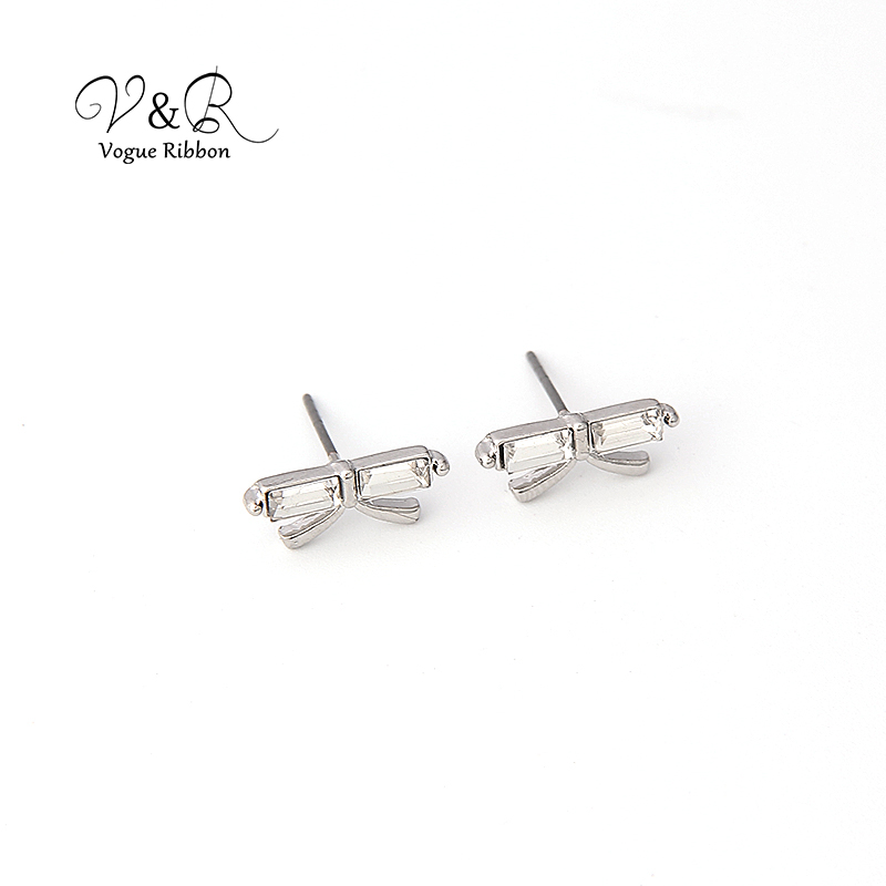3 pairs a set, cute stud earring imitation rhodium plated, 1pair CZ stone stud, 1 pair pave stone butterfly   stud earring, 1 pa (6)