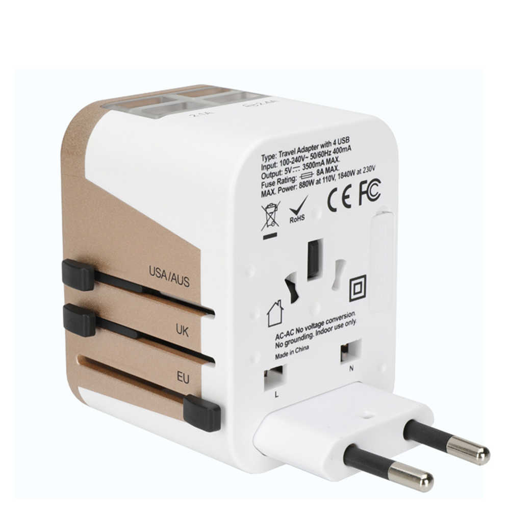 Adaptador de viaje adaptador de corriente Universal internacional 3500Mah 3.5A 4 USB cargador con montaje en pared para Reino Unido/UE/Australia/Asia