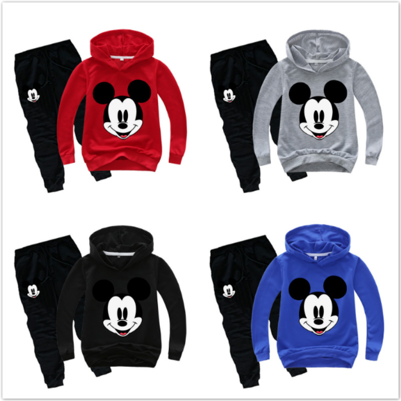 2020 New Children Clothing Sets Spring Autumn Baby Boy Girl Clothing Set Mickey Minnie Cartoon Fashion Hoodie+Pants 2 Pcs Suits
