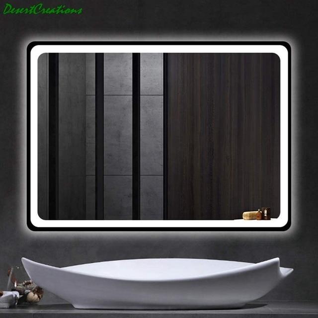 "32""x24""Bathroom Mirror With Led Lights Makeup Vanity Wall-Mounted Horizontally Rectangular Frameless Wall Mirror 4"