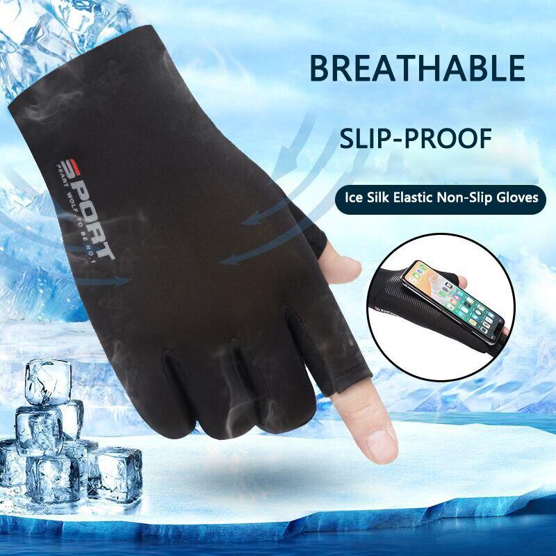 Summer Ice Silk Half-Finger Gloves Driving Cycling Men Highly Elastic UV Protection Sunscreen  Anti-Slip Women Two-Finger Gloves