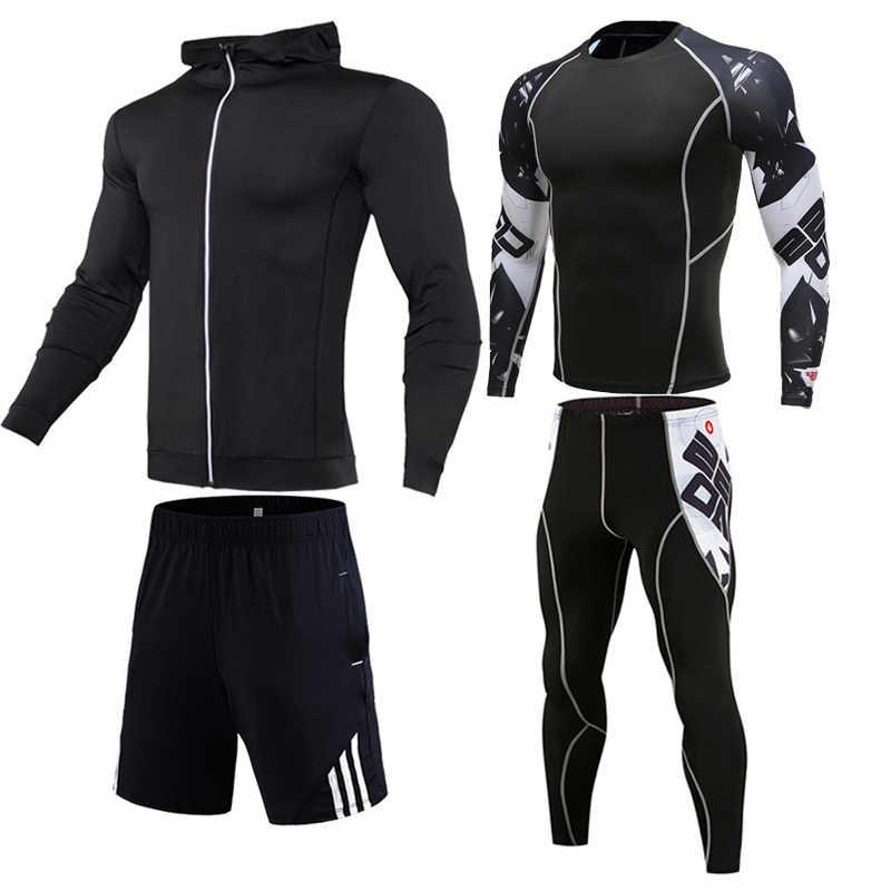 3/4/uds/Set de chándal para hombre, ropa deportiva de compresión para gimnasio, Fitness, ropa para correr, Jogging, ropa deportiva ajustada, conjuntos de secado rápido