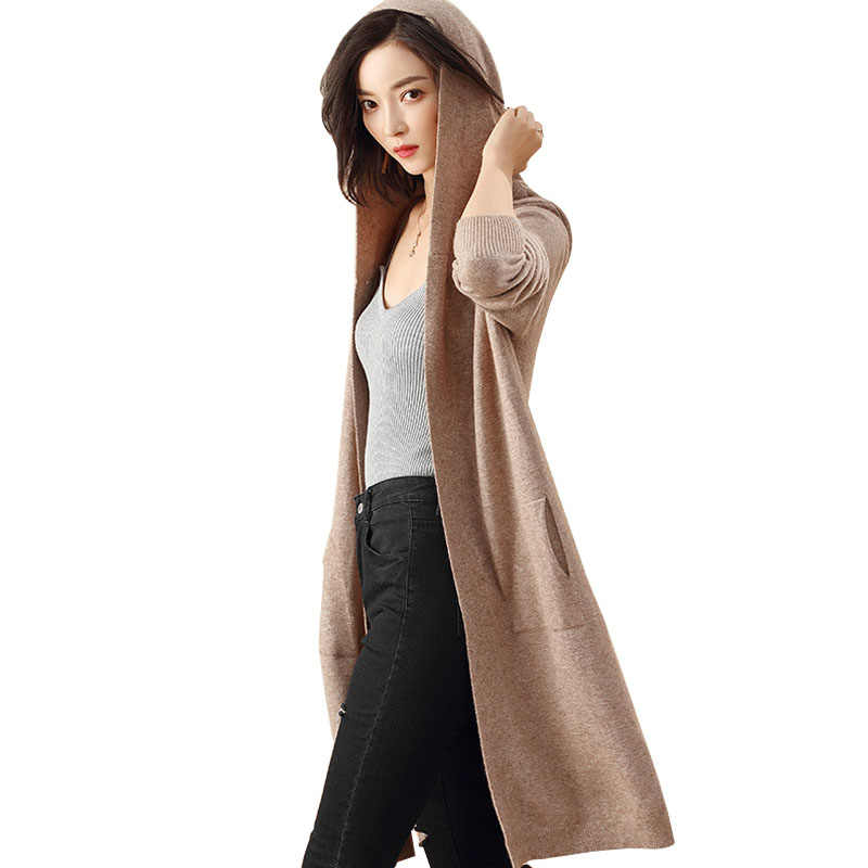 Autumn Winter Thin Hooded Cashmere Sweater Women Long Knitted Cardigan Long Sleeve Split Pocket Loose Elegant Outerwear Casual