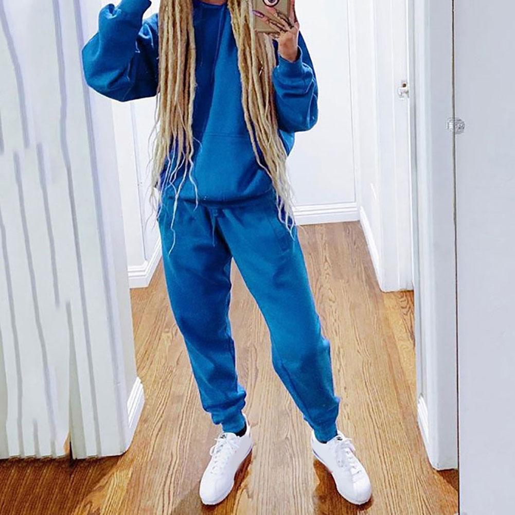 Women Warm Women Two Piece Set Sports Jogger Hoodies Sweatshirt Trousers Set Winter Tracksuit спортивный костюм женский