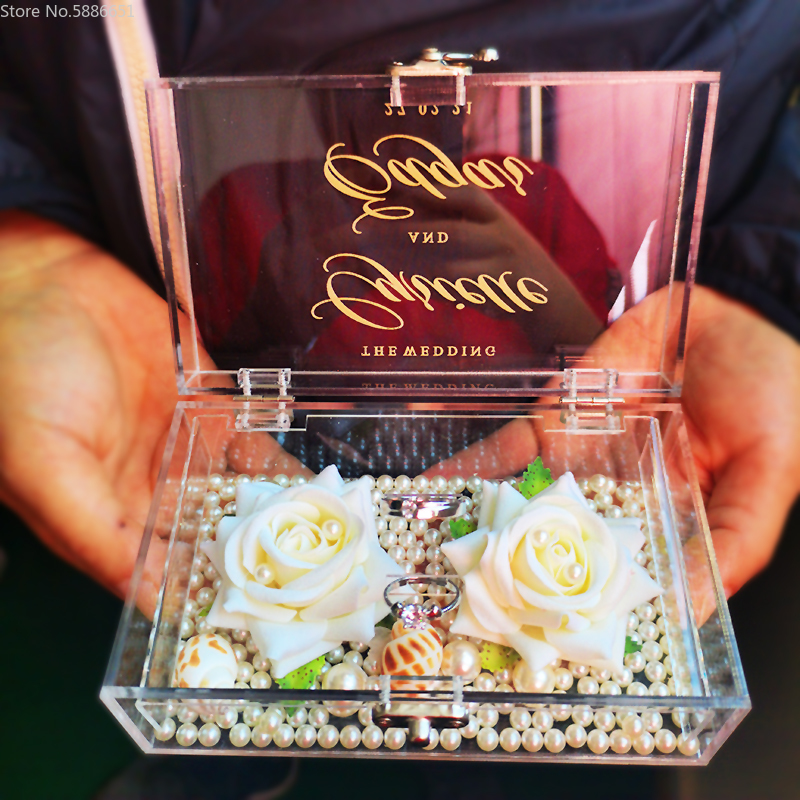 1Pcs Custom Name Date Crystal Ring Box Wedding Engagement Anniversary Girfriend Propose Ring Pillow Gift Box