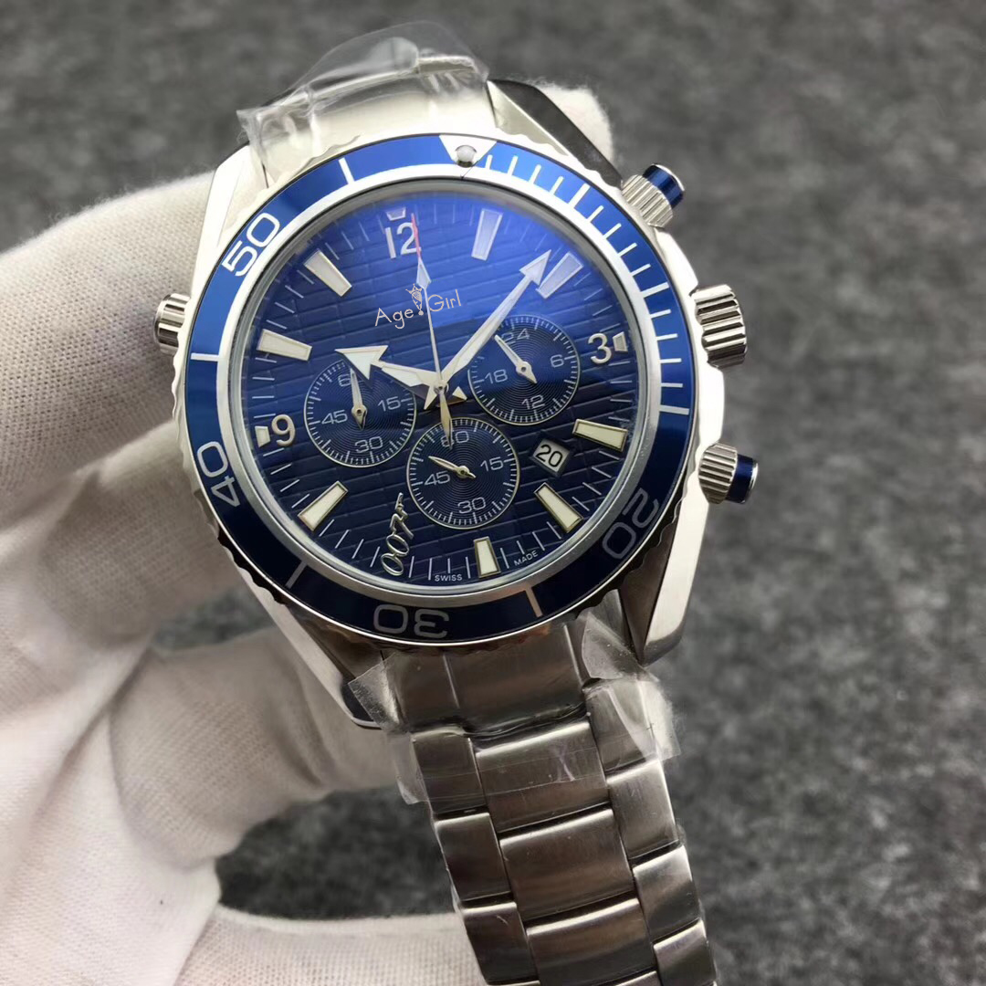 Luxury Brand New Quartz Dive Chronograph 007 Blue Men Watch Professional Stainless Steel Sapphire Glass Watches Leather AAA+