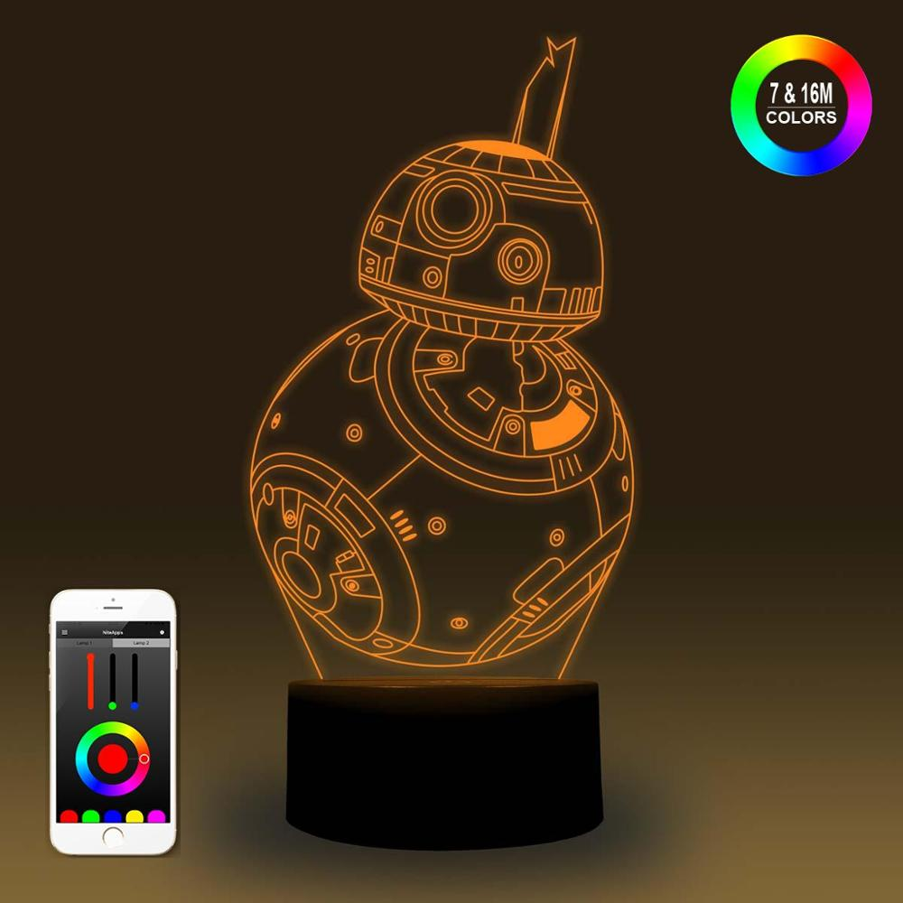 NiteApps 3D Star Wars BB-8 Night Light Desk Table Illusion Lamp Holiday Birthday Gift APP/Touch Control