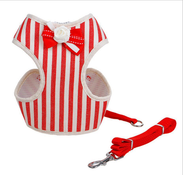 Pet Traction Li Fu Kuan Stripes Chest And Back Teddy Pet Clothes Bow Traction Chest And Back With Nylon Dog Chain