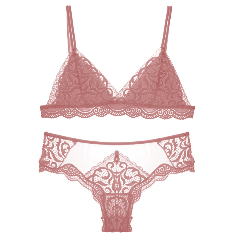 Image 5 - French Wirefree Lace Bra Set Triangle Cups Bralette Transparent Lace Pantie High cut Underwear Thin Padded Lingerie for FemaleBra & Brief Sets   -