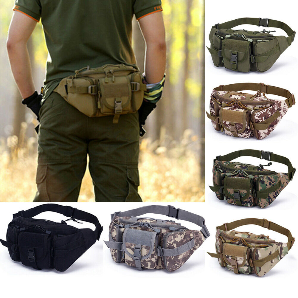 Men Waterproof 1000D Nylon Waist Fanny Pack Tactical Military Sport Army Bag Hiking Fishing Hunting Camping Travel Hip Bum Belt