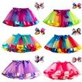 Юбка-пачка для девочек, юбки для маленьких девочек, мини-юбка, танцевальная Радужная фатиновая детская юбка принцессы, красочная детская ле...