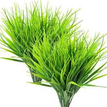 8 Pcs Artificial Outdoor Plants, Fake Plastic Greenery Shrubs Wheat Grass Outdoor Window Box Verandah Hanging Planter Indoor Out(China)