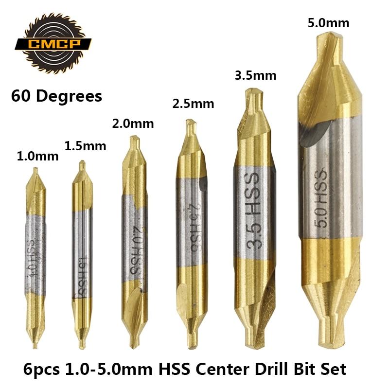 CMCP 6pcs Titanium Coated Self Centering Drill Bits 1.0-5.0mm HSS Center Drill Bit Set 60 Degree Combined Drill Bit