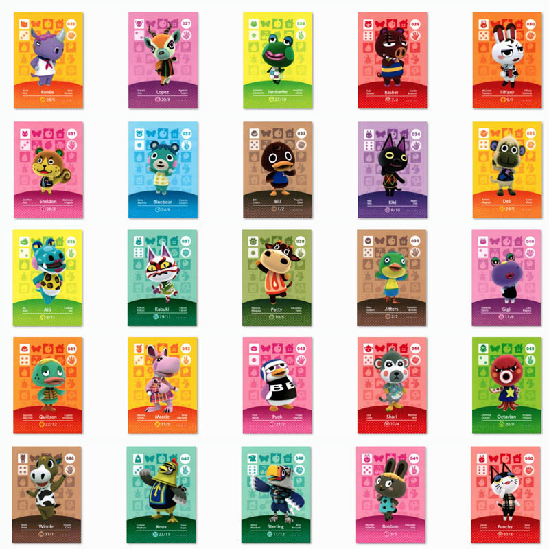 (026 To 050) Animal Crossing Card Amiibo Printed NFC Card Pick From The List