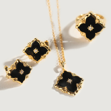 CMajor Sterling Silver Jewelry Italian Style Black Jade Four-leaves Clover Earrings Ring and Necklace Jewelry Set For Women