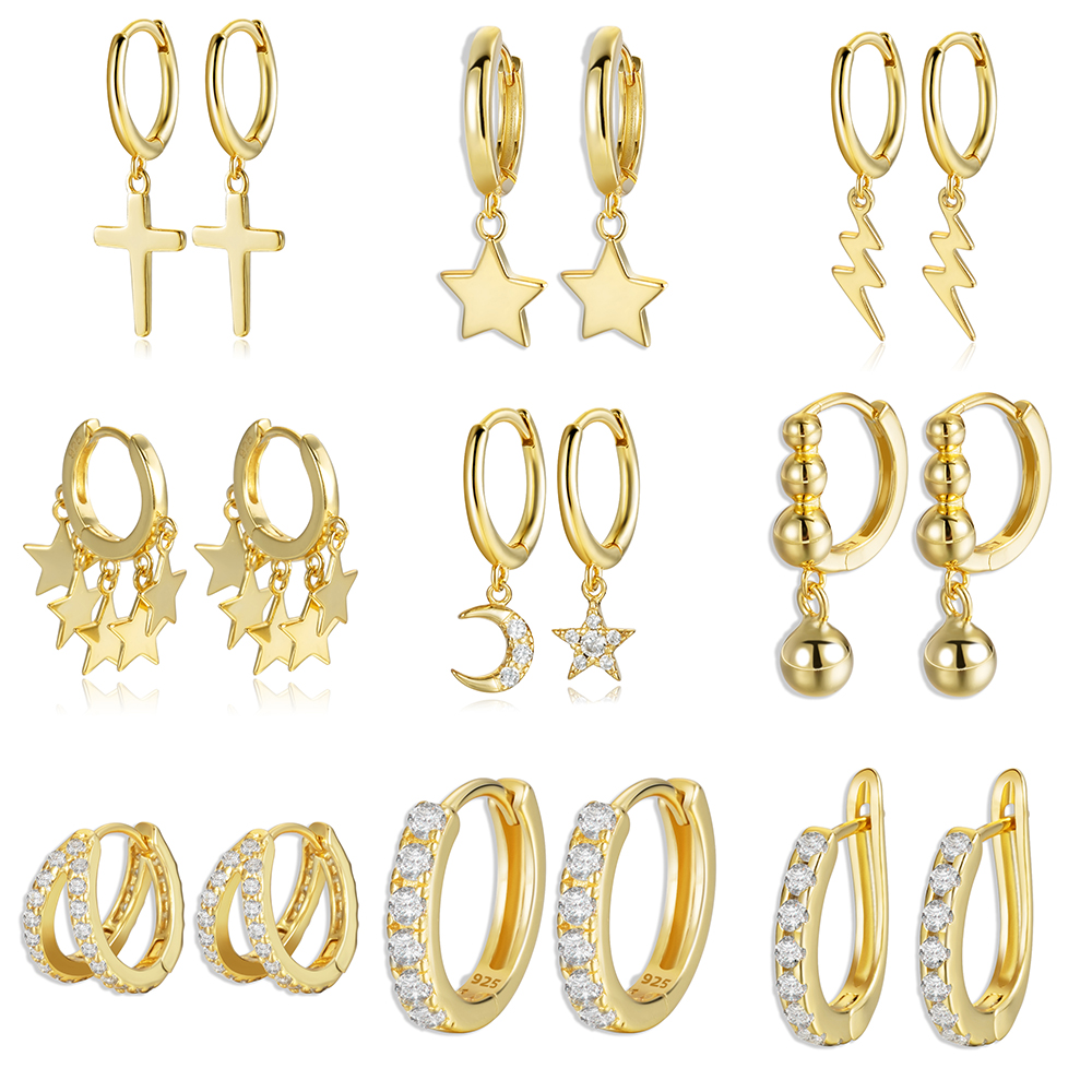 Pendientes de plata de ley 925 con Cruz en Color dorado, estrella de la Luna, circonita cúbica, pequeño círculo Huggie, pendientes de aro para mujer, joyería fina
